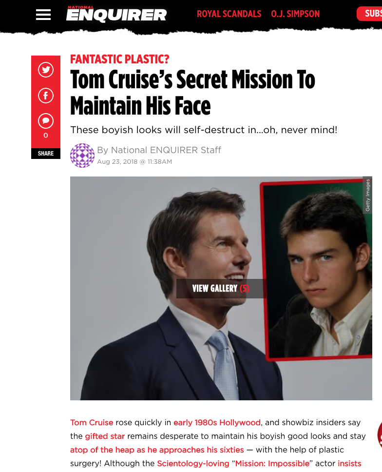 Tom Cruise cosmetic surgery